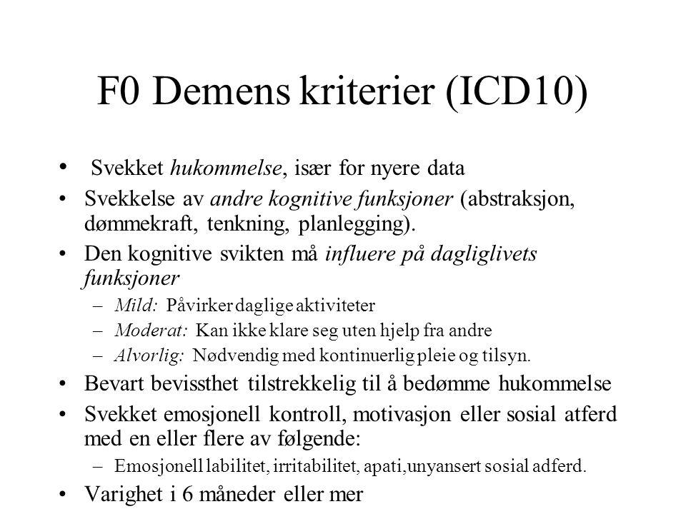 F0 Demens kriterier (ICD10)