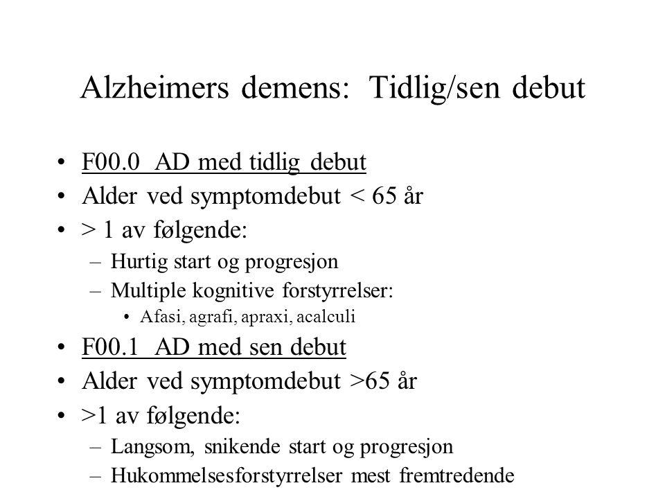 Alzheimers demens: Tidlig/sen debut