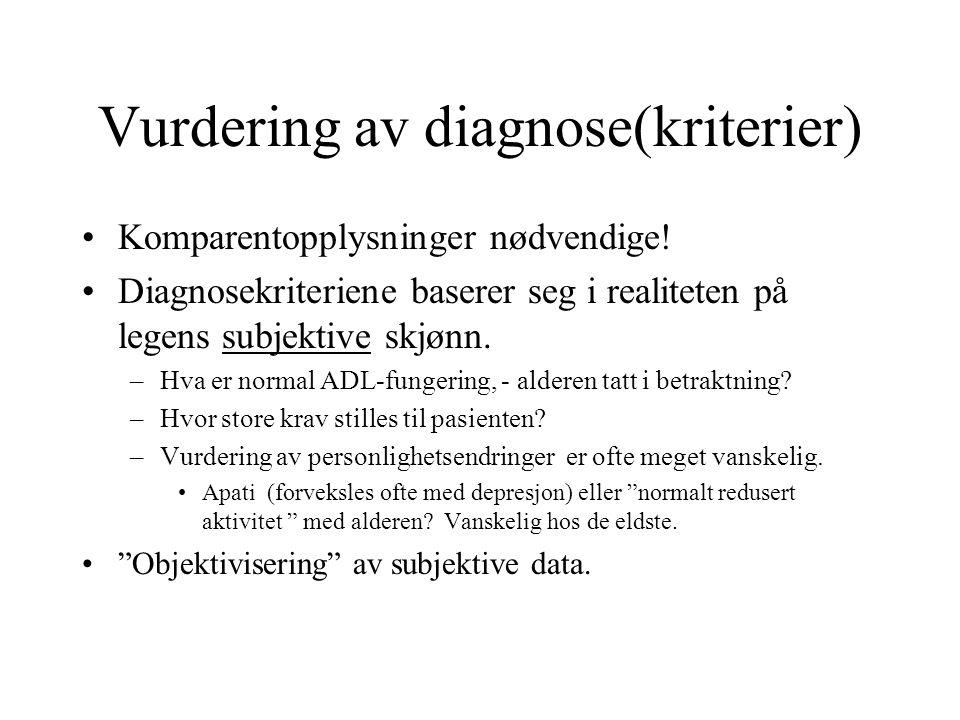 Vurdering av diagnose(kriterier)