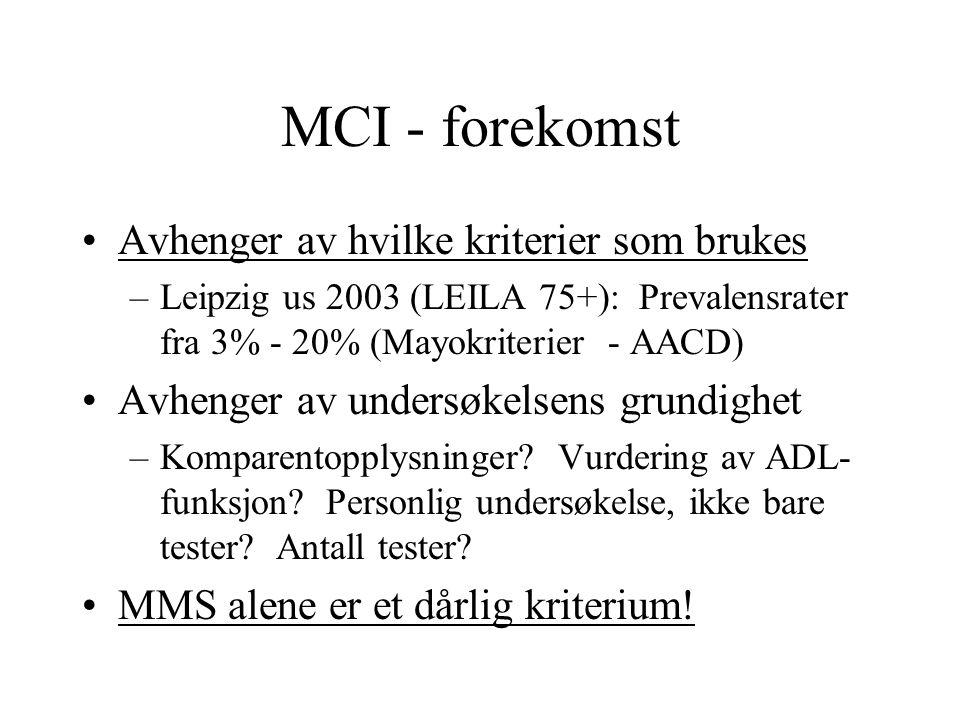 MCI - forekomst Avhenger av hvilke kriterier som brukes