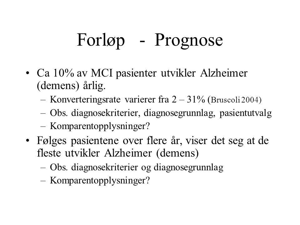 Forløp - Prognose Ca 10% av MCI pasienter utvikler Alzheimer (demens) årlig. Konverteringsrate varierer fra 2 – 31% (Bruscoli 2004)