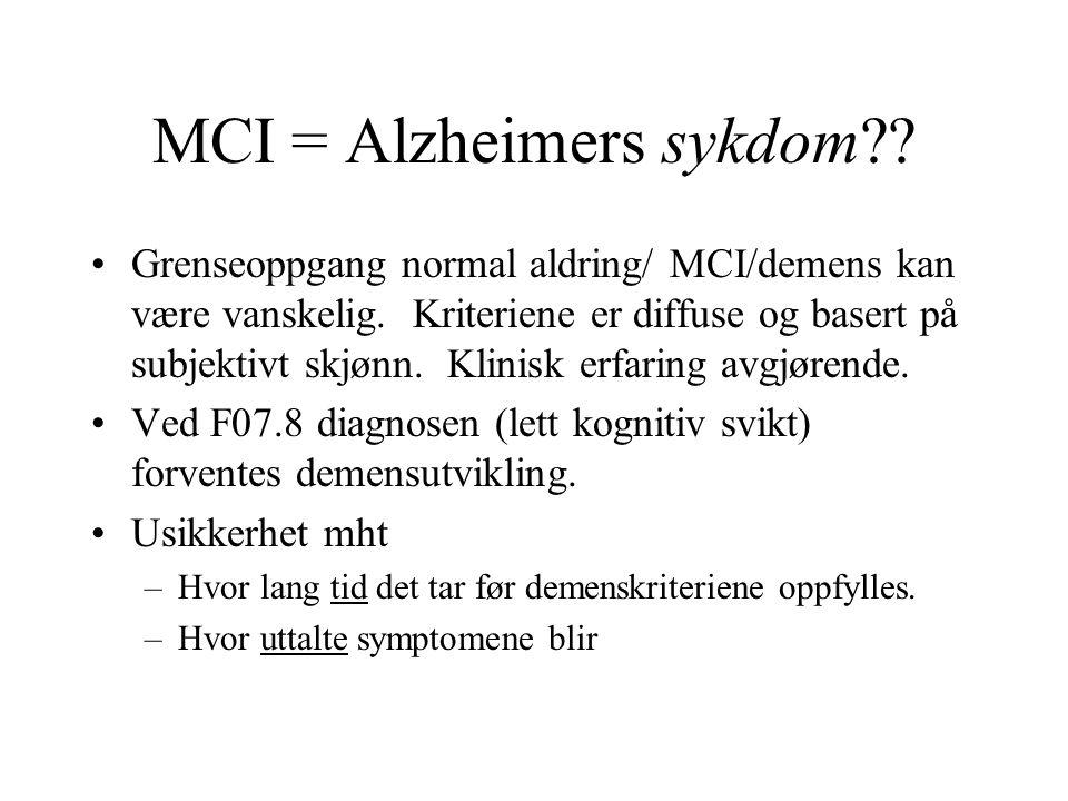 MCI = Alzheimers sykdom