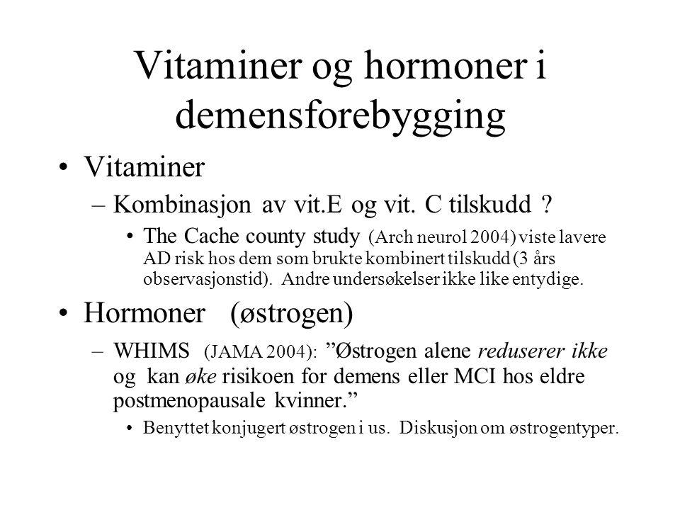 Vitaminer og hormoner i demensforebygging
