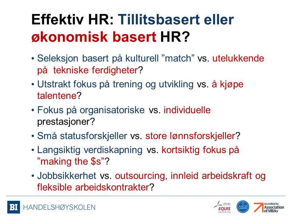 Effektiv HR: Tillitsbasert eller økonomisk basert HR