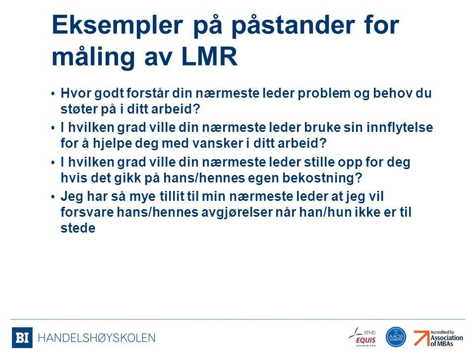 Eksempler på påstander for måling av LMR