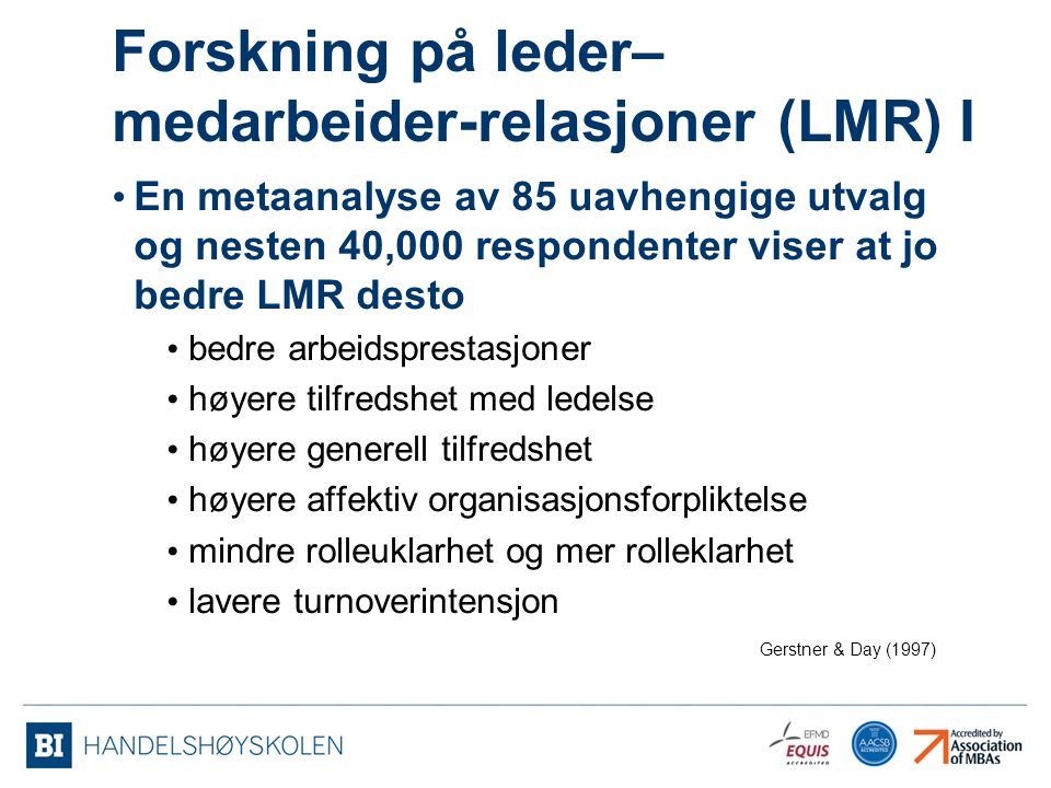 Forskning på leder–medarbeider-relasjoner (LMR) I