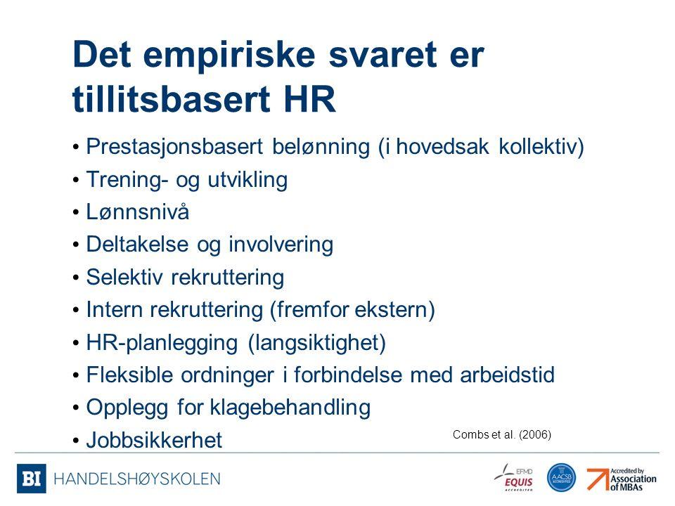 Det empiriske svaret er tillitsbasert HR