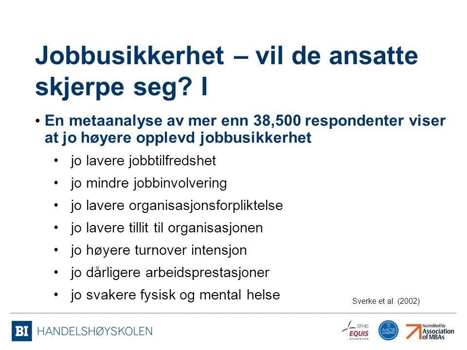 Jobbusikkerhet – vil de ansatte skjerpe seg I