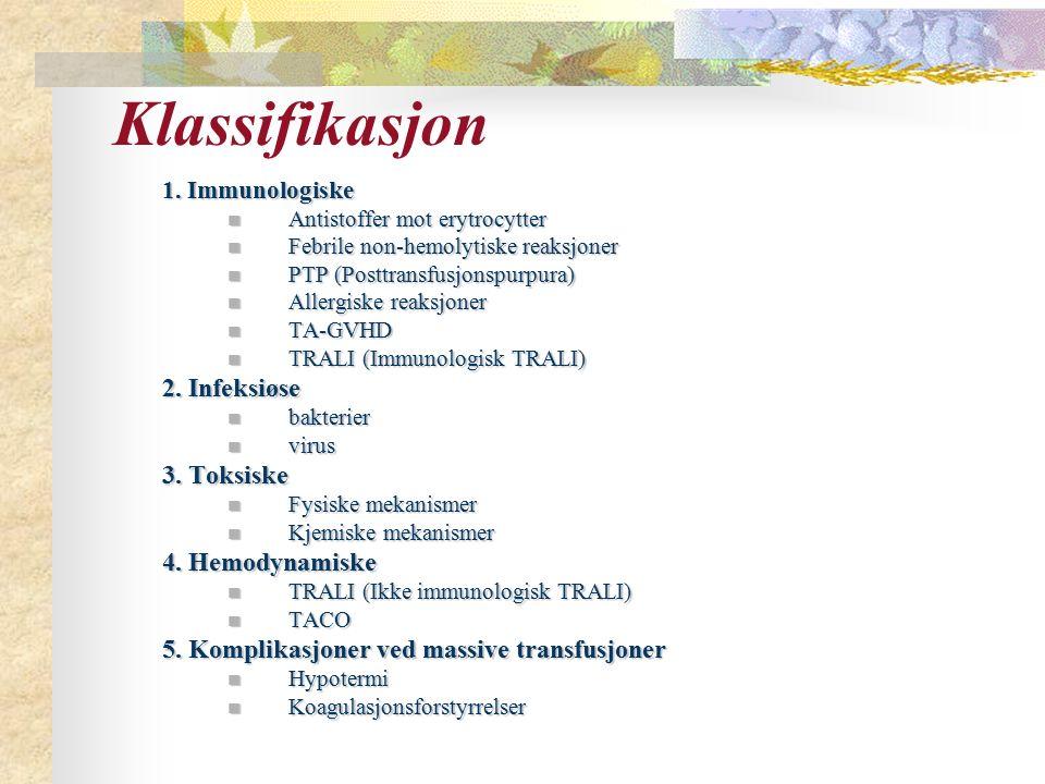 Klassifikasjon 2. Infeksiøse 3. Toksiske 4. Hemodynamiske