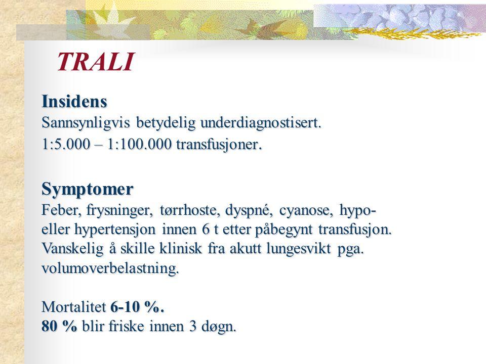 TRALI Insidens Symptomer Sannsynligvis betydelig underdiagnostisert.