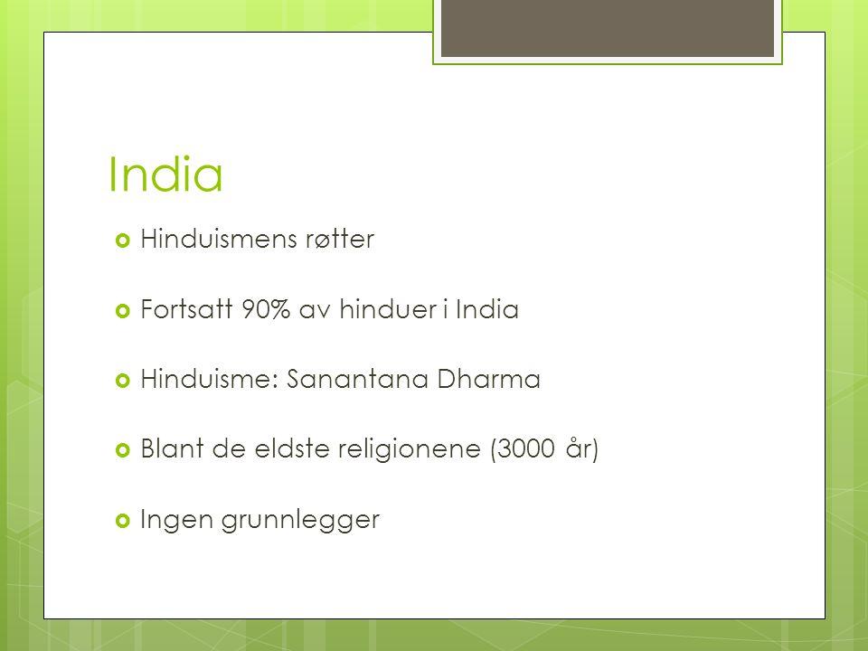 India Hinduismens røtter Fortsatt 90% av hinduer i India