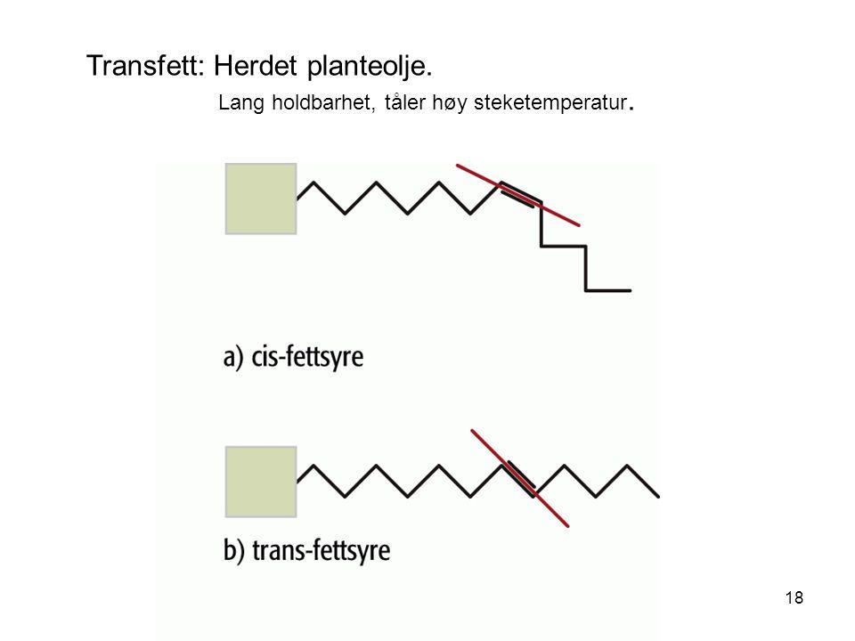Transfett: Herdet planteolje.
