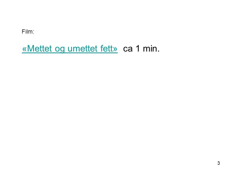 «Mettet og umettet fett» ca 1 min.