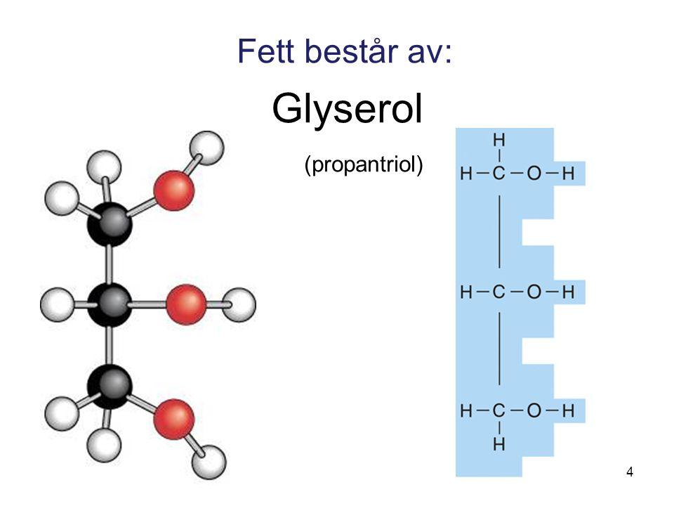 Fett består av: Glyserol (propantriol)