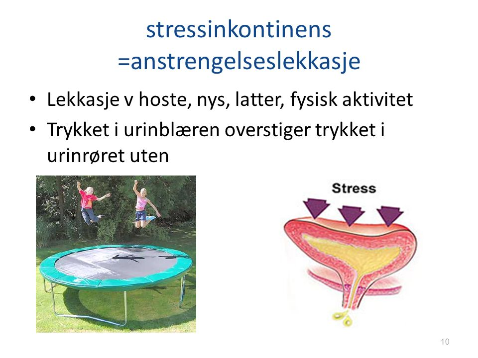 stressinkontinens =anstrengelseslekkasje