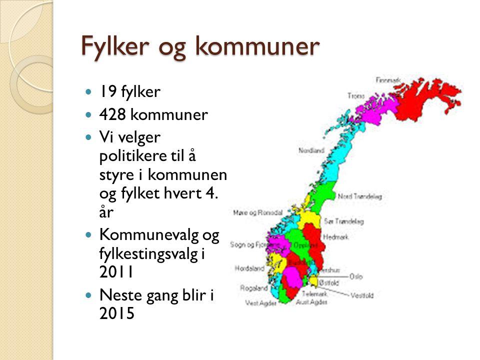Fylker og kommuner 19 fylker 428 kommuner
