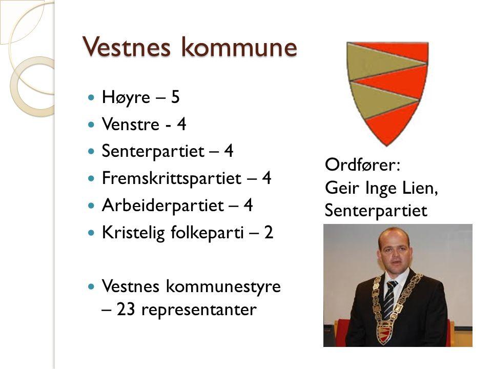 Vestnes kommune Høyre – 5 Venstre - 4 Senterpartiet – 4