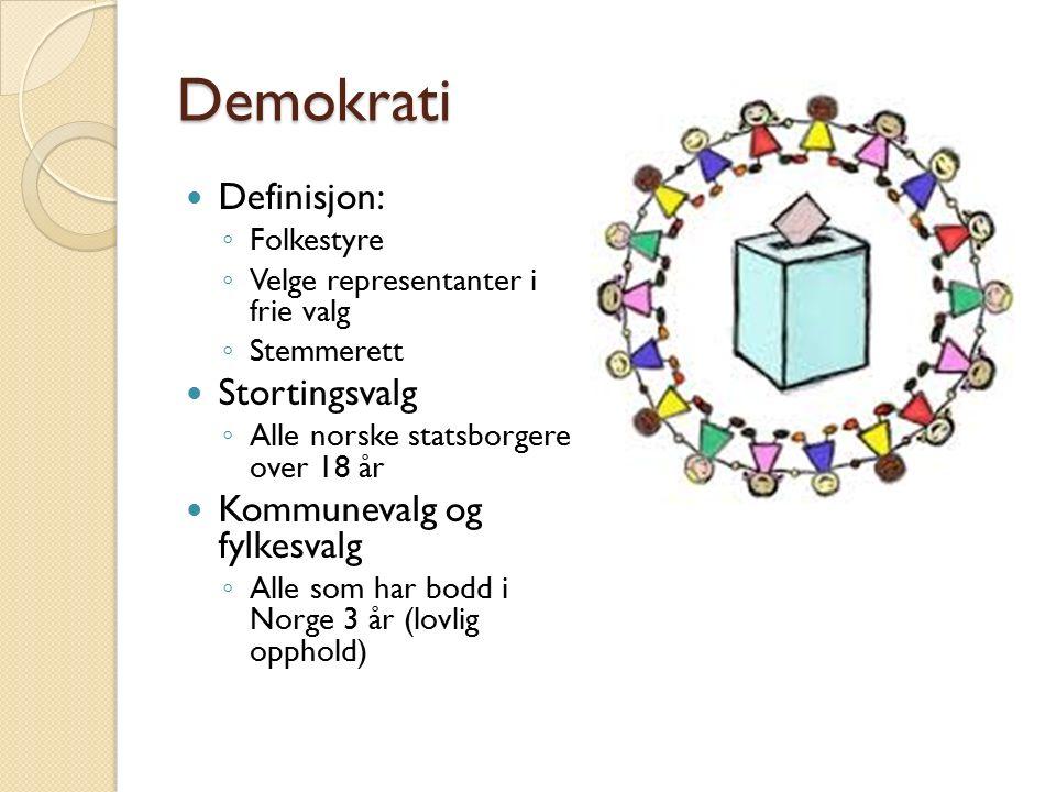 Demokrati Definisjon: Stortingsvalg Kommunevalg og fylkesvalg