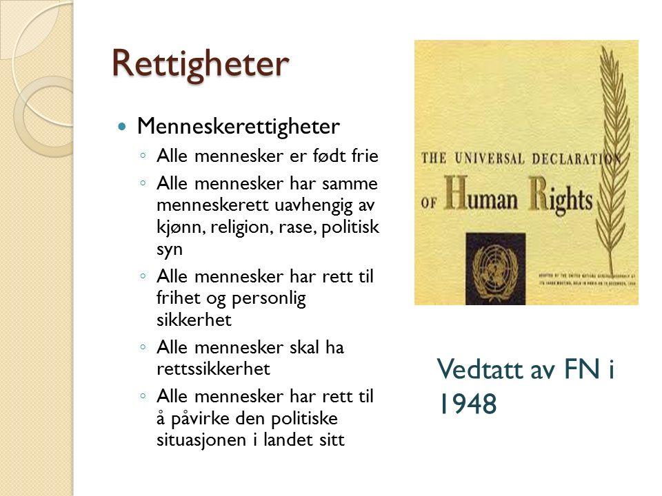 Rettigheter Vedtatt av FN i 1948 Menneskerettigheter