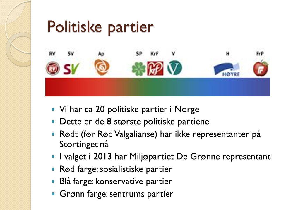 Politiske partier Vi har ca 20 politiske partier i Norge