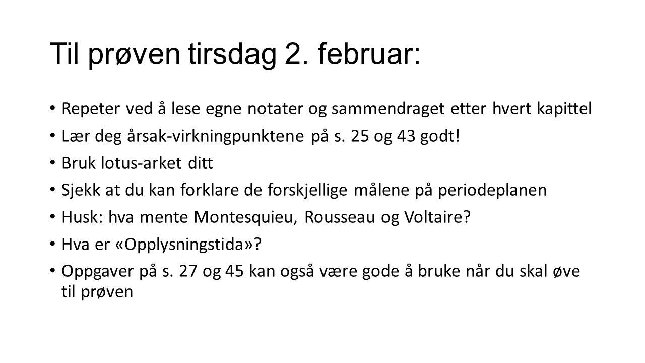 Til prøven tirsdag 2. februar: