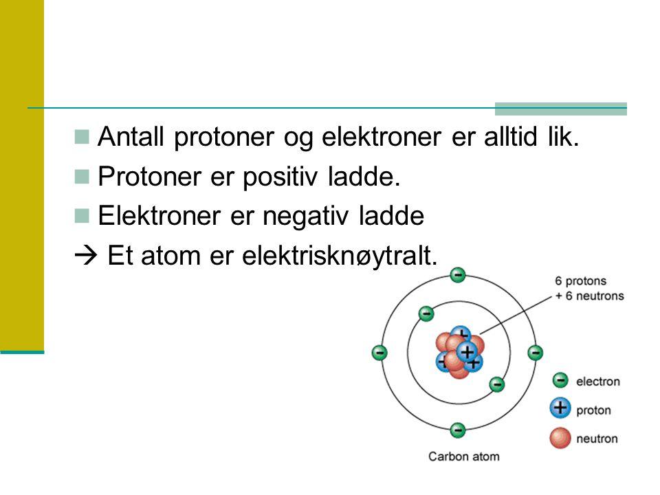 Antall protoner og elektroner er alltid lik.