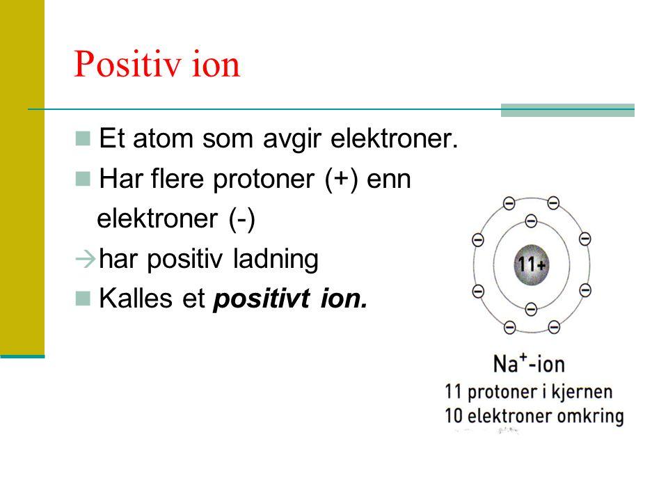 Positiv ion Et atom som avgir elektroner. Har flere protoner (+) enn