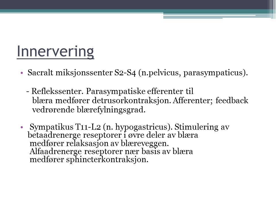Innervering Sacralt miksjonssenter S2-S4 (n.pelvicus, parasympaticus).