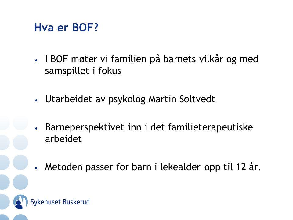 Hva er BOF I BOF møter vi familien på barnets vilkår og med samspillet i fokus. Utarbeidet av psykolog Martin Soltvedt.