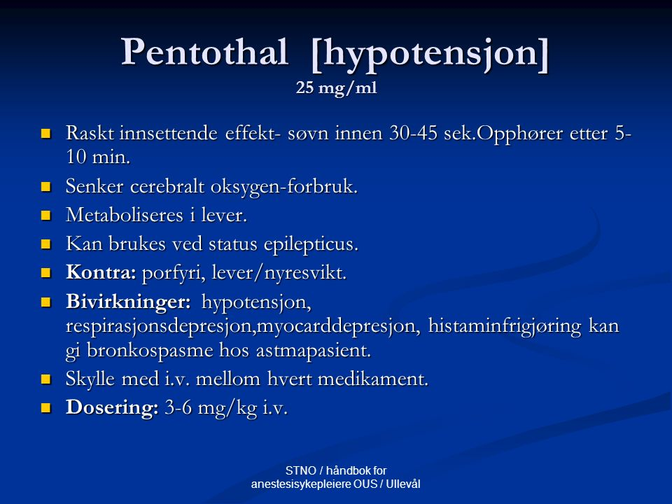 Pentothal [hypotensjon] 25 mg/ml