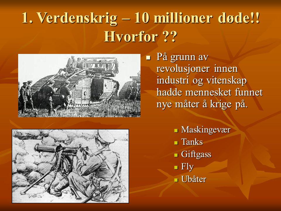 1. Verdenskrig – 10 millioner døde!! Hvorfor