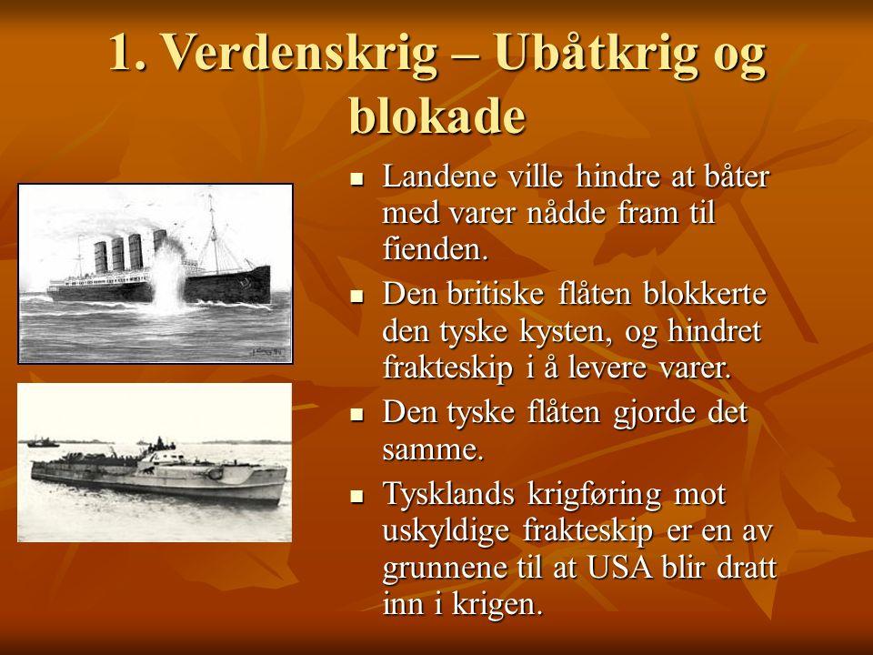 1. Verdenskrig – Ubåtkrig og blokade