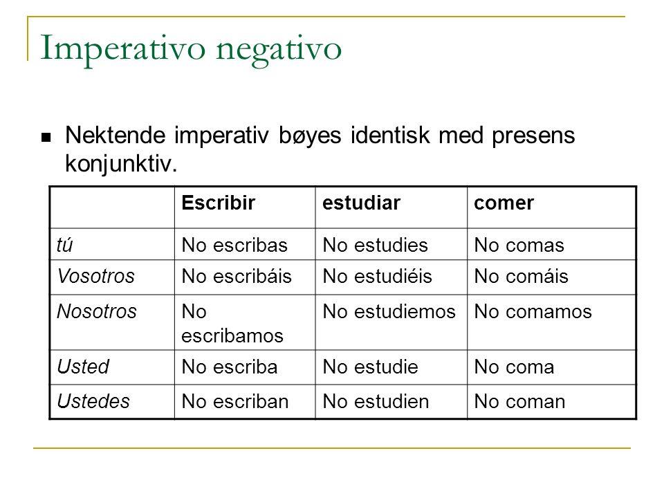 Imperativo negativo Nektende imperativ bøyes identisk med presens konjunktiv. Escribir. estudiar.