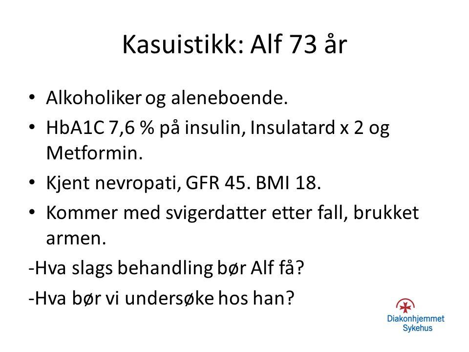 Kasuistikk: Alf 73 år Alkoholiker og aleneboende.