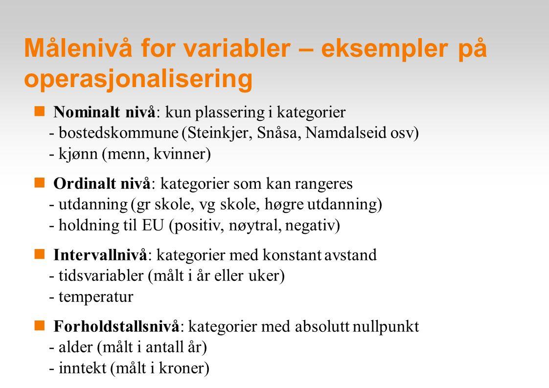 Målenivå for variabler – eksempler på operasjonalisering