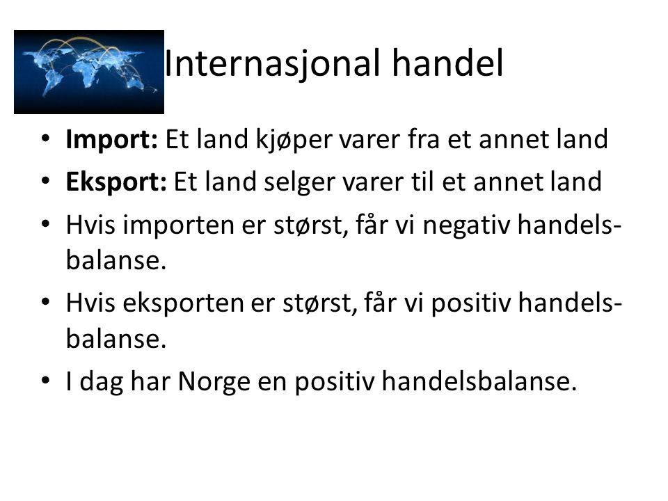 Internasjonal handel Import: Et land kjøper varer fra et annet land