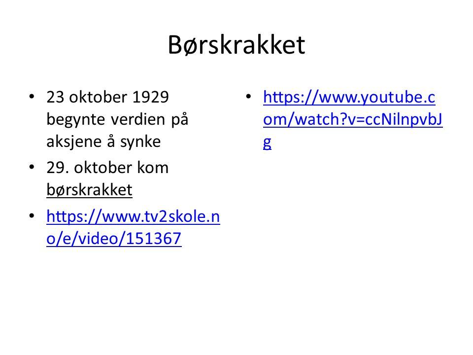 Børskrakket 23 oktober 1929 begynte verdien på aksjene å synke