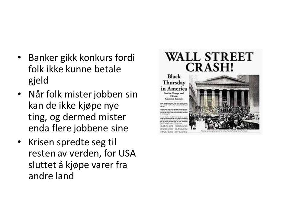 Banker gikk konkurs fordi folk ikke kunne betale gjeld