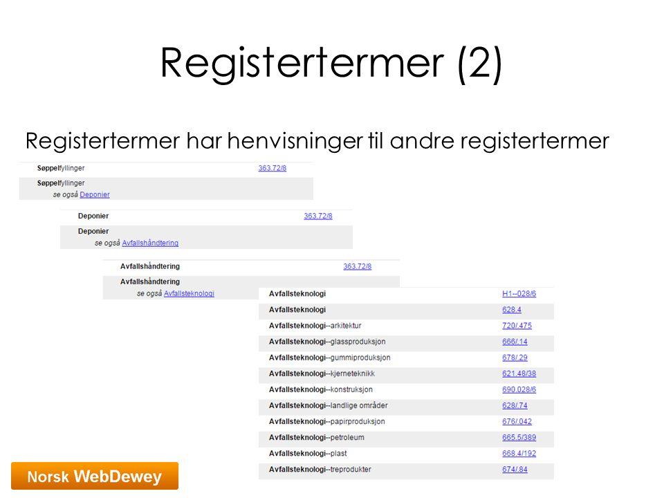 Registertermer (2) Registertermer har henvisninger til andre registertermer