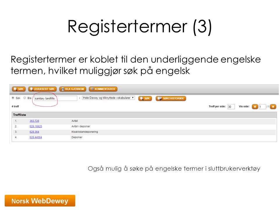 Registertermer (3) Registertermer er koblet til den underliggende engelske termen, hvilket muliggjør søk på engelsk.