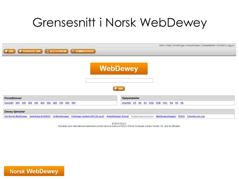 Grensesnitt i Norsk WebDewey