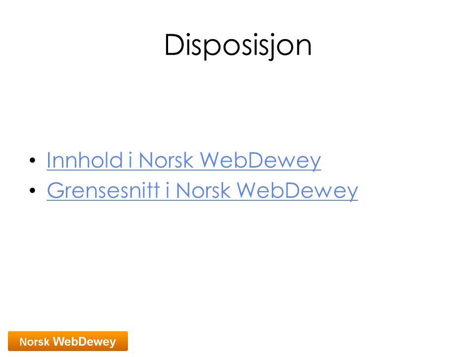 Disposisjon Innhold i Norsk WebDewey Grensesnitt i Norsk WebDewey