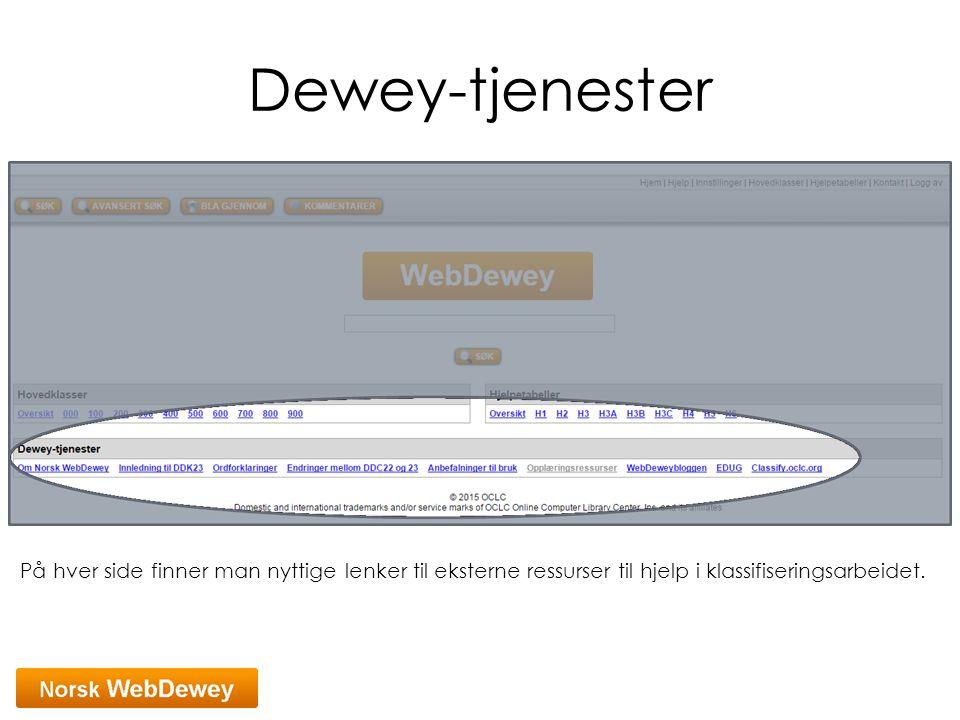 Dewey-tjenester På hver side finner man nyttige lenker til eksterne ressurser til hjelp i klassifiseringsarbeidet.