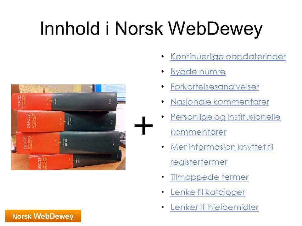 Innhold i Norsk WebDewey