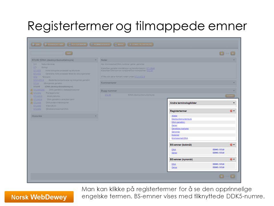 Registertermer og tilmappede emner