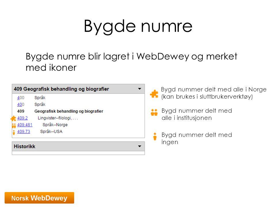 Bygde numre Bygde numre blir lagret i WebDewey og merket med ikoner