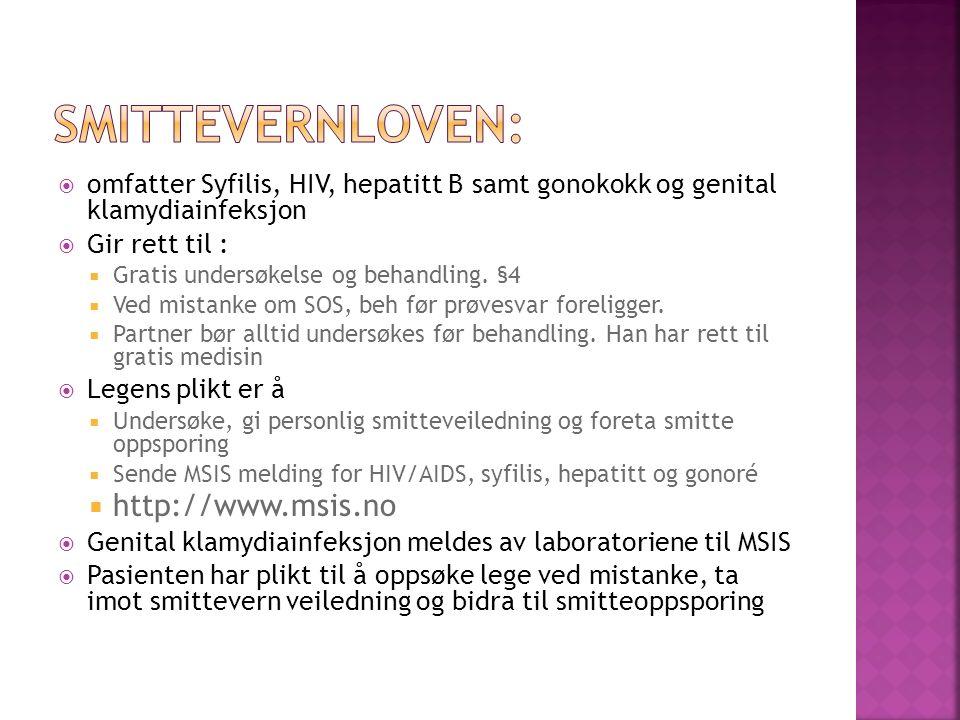 Smittevernloven: http://www.msis.no