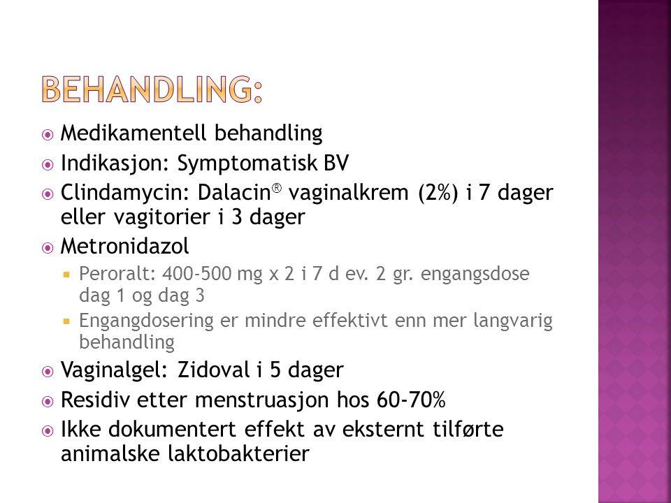 Behandling: Medikamentell behandling Indikasjon: Symptomatisk BV