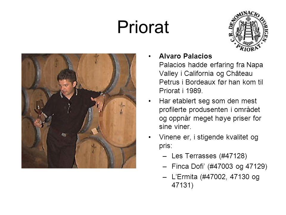 Priorat Alvaro Palacios Palacios hadde erfaring fra Napa Valley i California og Château Petrus i Bordeaux før han kom til Priorat i 1989.