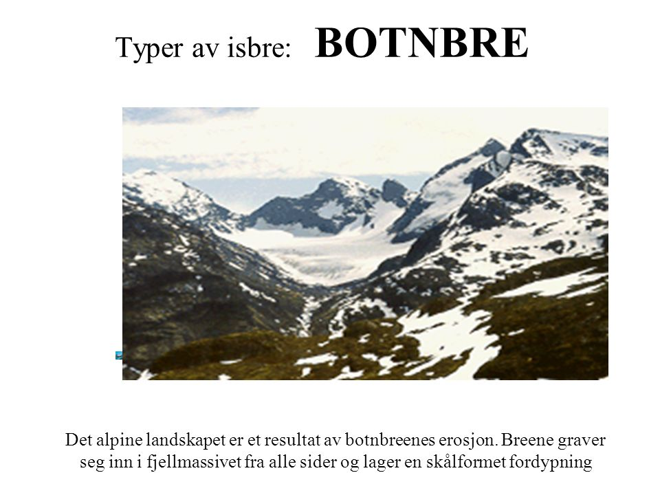 Typer av isbre: BOTNBRE